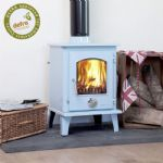 duck blue Eco 5kw Enamel Petit Multifuel defra approved Stove white (1)